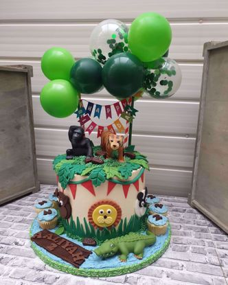 Picture of Balloon Cake Topper Confetti Garland Jungle Animal Safari Green Tropical