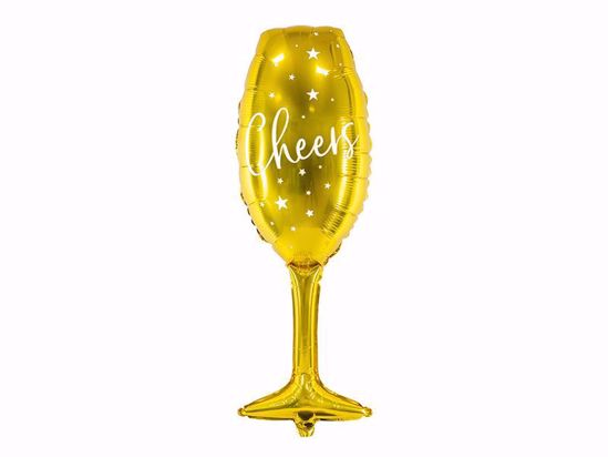 Picture of Glass Balloon Gold Cheers