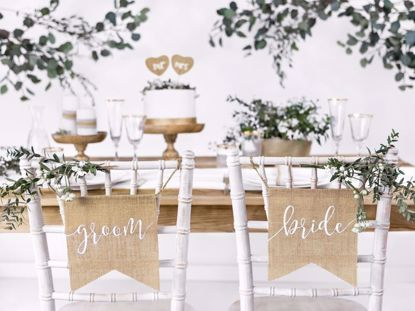 Picture of Bride Groom Chair Banner Sign