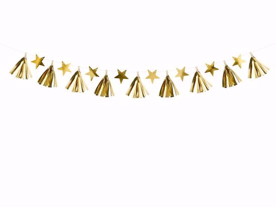 Picture of Paper garland - Gold tassels Stars Bunting Christmas Decorations