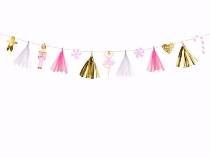 Picture of Christmas Paper garland tags - Gold tassels Stars Bunting Banner New Year Christmas