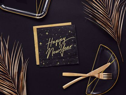 Picture of Happy New Year Napkins Tissue Paper Party Decorations Black Gold