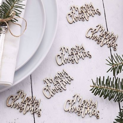 Picture of Merry Christmas Wooden Confetti Rustic Party Decorations Seasons Gifts Sprinkle