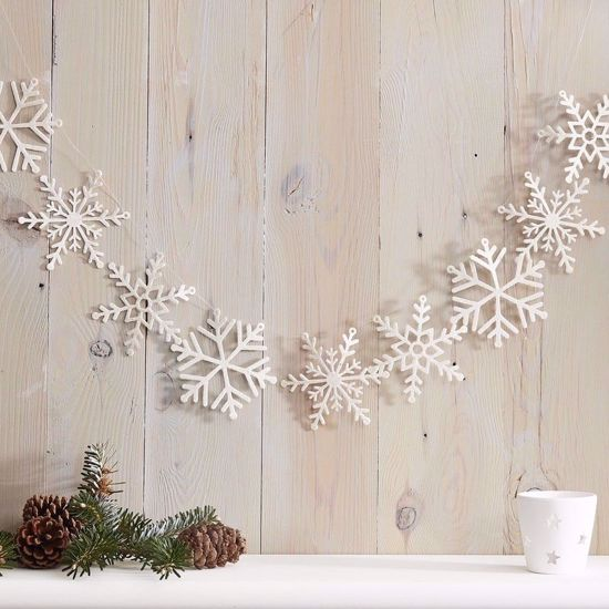 Picture of White Glitter Snowflake Christmas Garland Traditional Rustic Decorations