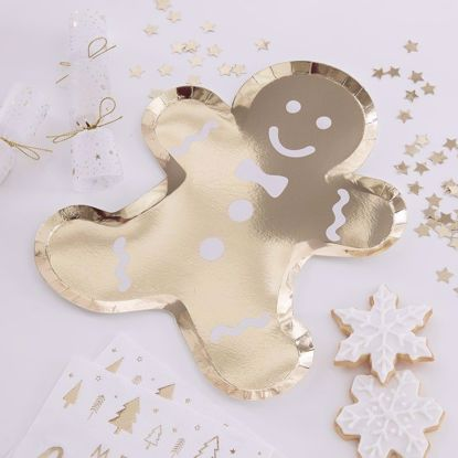 Picture of Gold Paper Plates Gingerbread Happy New Year Merry Christmas Decorations Tableware