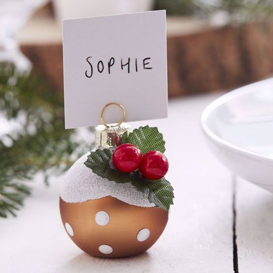 Picture of Christmas Pudding Bauble Place Card Holders