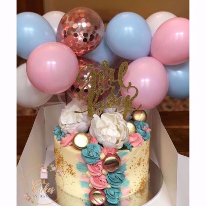 Picture of Balloon Cake Topper Gender Reveal Blue Pink
