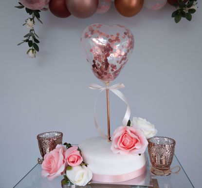 Picture of Balloon Cake Topper Heart Rose Gold Confetti