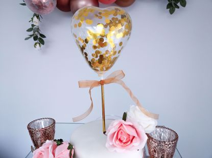 Picture of Balloon Cake Topper Heart Gold Confetti