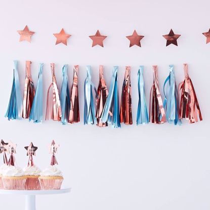 Picture of MATTE BLUE AND ROSE GOLD TASSEL GARLAND - TWINKLE TWINKLE