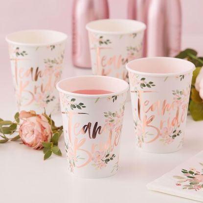 Picture of TEAM BRIDE FLORAL PAPER CUPS - FLORAL HEN PARTY