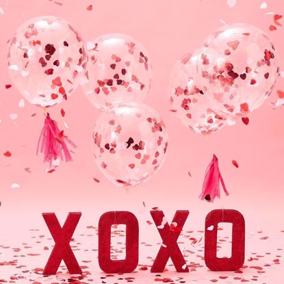 Picture of CONFETTI HEARTS BALLOONS - BE MY VALENTINE