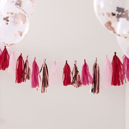 Picture of Rose Gold & Mixed Pink Tassel Bunting