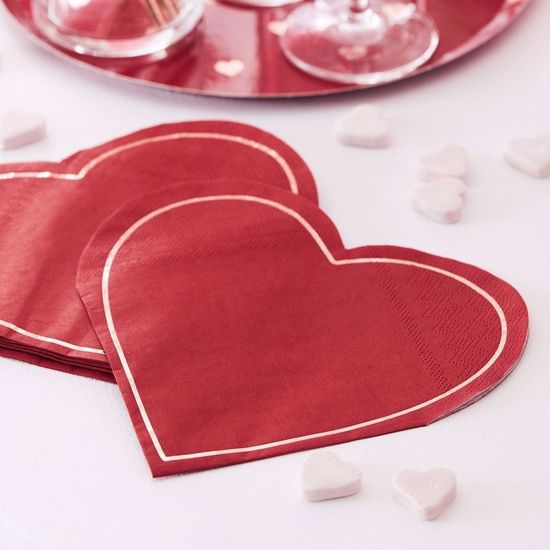 Picture of Red & Rose Gold Foiled Heart Shaped Paper Napkins