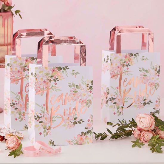 Picture of TEAM BRIDE PARTY BAGS - FLORAL HEN PARTY  5 bags