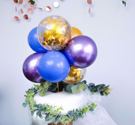 Picture of BALLOON CAKE TOPPER MINI GARLAND PURPLE CHROME BLUE  GOLD