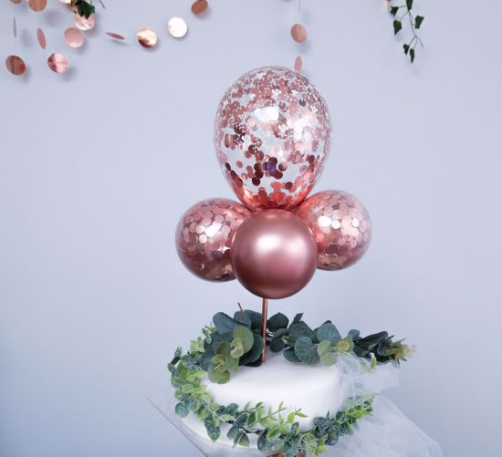 Picture of BALLOON CAKE TOPPER MINI GARLAND ROSE GOLD BIRTHDAY