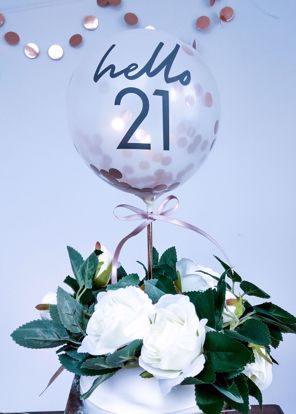 Picture of Balloon Cake Topper Birthday Hello 18 21 30 40 50