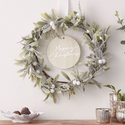 Picture of MISTLETOE AND MERRY CHRISTMAS DOOR WREATH
