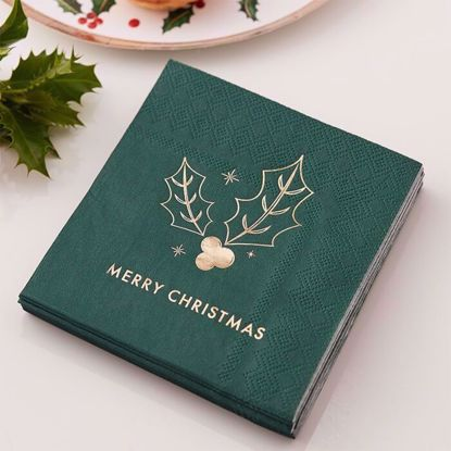 Picture of GREEN MERRY CHRISTMAS COCKTAIL NAPKINS