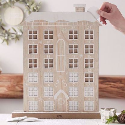 Picture of WOODEN REUSEABLE ADVENT CALENDAR HOUSE