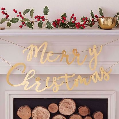 Picture of MERRY CHRISTMAS GOLD ACRYLIC BUNTING