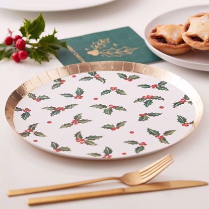 Picture of CHRISTMAS HOLLY LEAF PAPER PARTY PLATES