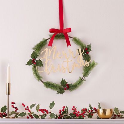 Picture of MERRY CHRISTMAS ACRYLIC GOLD FOILAGE WREATH