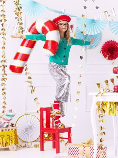 Picture of Red Candy Cane Foil Balloon Christmas