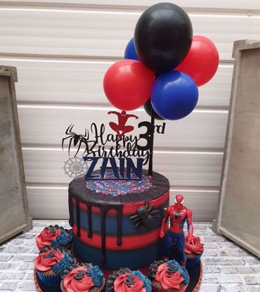 Picture of Balloon Cake Topper Mini Garland Spiderman Theme