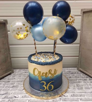 Picture of Balloon Cake Topper Mini Garland Navy Blue Gold Confetti