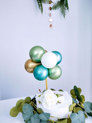 Picture of BALLOON CAKE TOPPER  GREEN CHROME BUNCH BIRTHDAY SAFARI