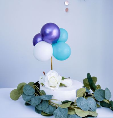 Picture of BALLOON CAKE TOPPER BUNCH PURPLE MINT