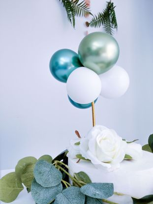 Picture of BALLOON CAKE TOPPER BUNCH WHITE GREEN CHROME