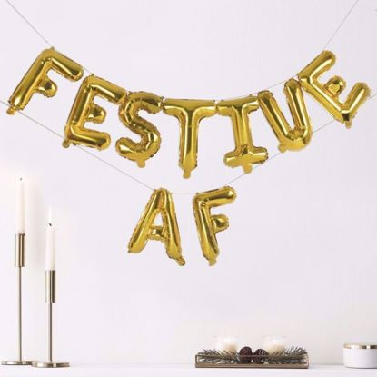 Picture of CHRISTMAS PARTY DECORATIONS FOILED 'FESTIVE AF' BALLOON BUNTING