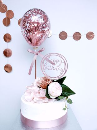 Picture of ROSE GOLD BALLOONS CAKE TOPPER BIRTHDAY FLOWERS