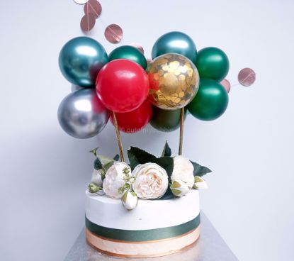 Picture of Cake Topper Balloon Garland Eucalyptus Gold Chrome Christmas Red