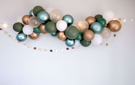 Picture of Gold Balloon Garland Blush Arch Eucalyptus Botanical