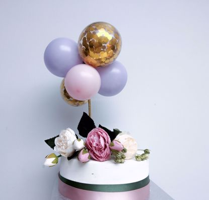 Picture of Balloon Cake Topper Gold Confetti Lilac Pink