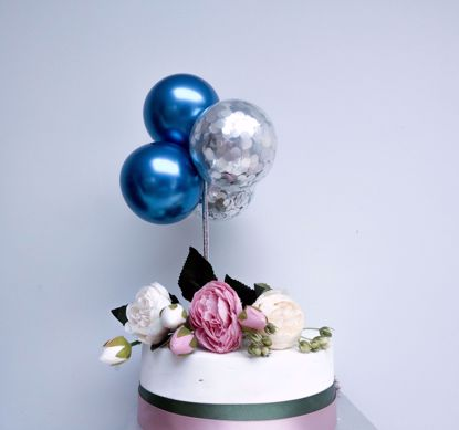Picture of Balloon Cake Topper Blue Chrome Silver