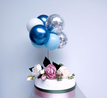 Picture of Balloon Cake Topper Blue Chrome White