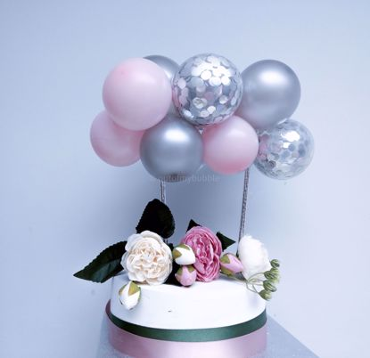 Picture of Balloon Cake Topper Pink Silver Confetti