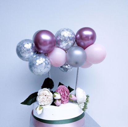 Picture of Balloon Cake Topper Pink Silver Confetti Mauve Chrome