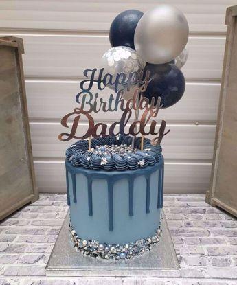Picture of Balloon Cake Topper Mini Garland Navy Blue Silver Confetti