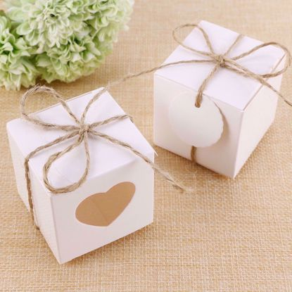 Picture of Heart Cut White Favor Boxes Wedding